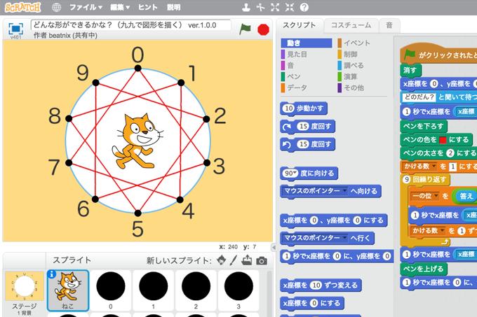 【既存の教科でプログラミング授業】どんな形ができるかな?(九九で図形を描く)