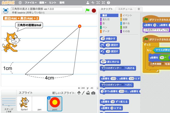 【既存の教科でプログラミング授業】三角形の高さと面積の関係