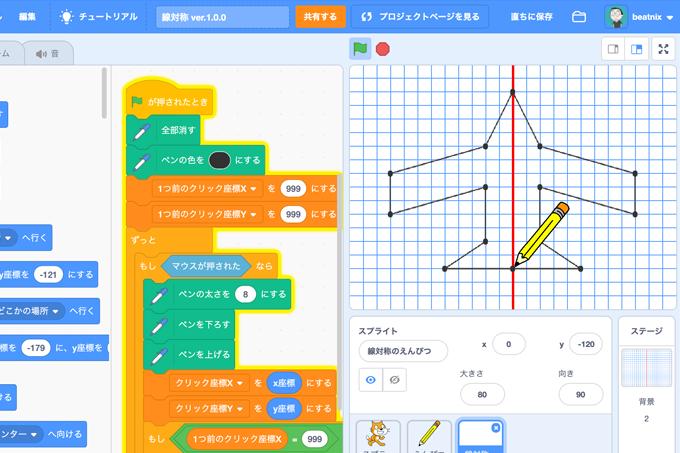 【既存の教科でプログラミング授業】線対称の図形を描く