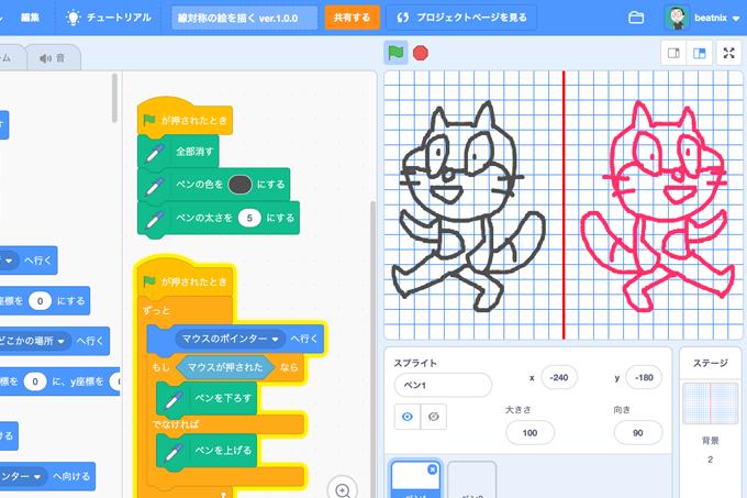 【既存の教科でプログラミング授業】線対称の絵を描く