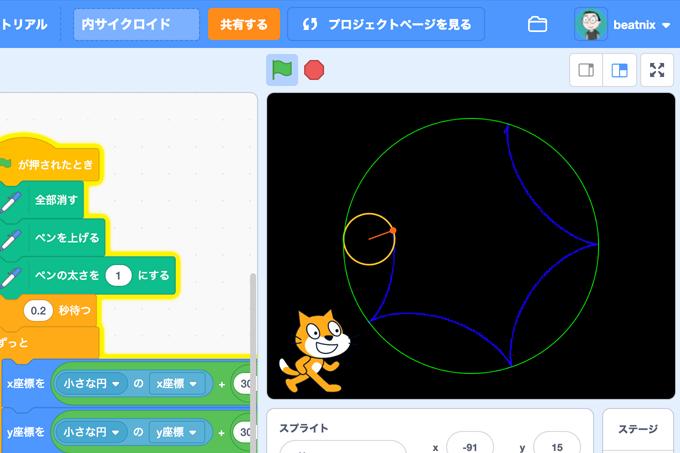 【Scratch】内サイクロイド