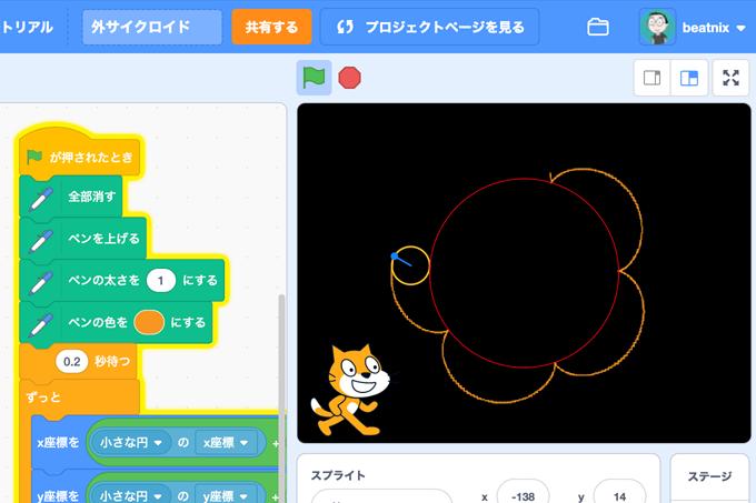 【Scratch】外サイクロイド