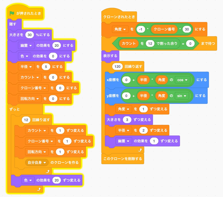 【Scratch】幾何学的な動き その2