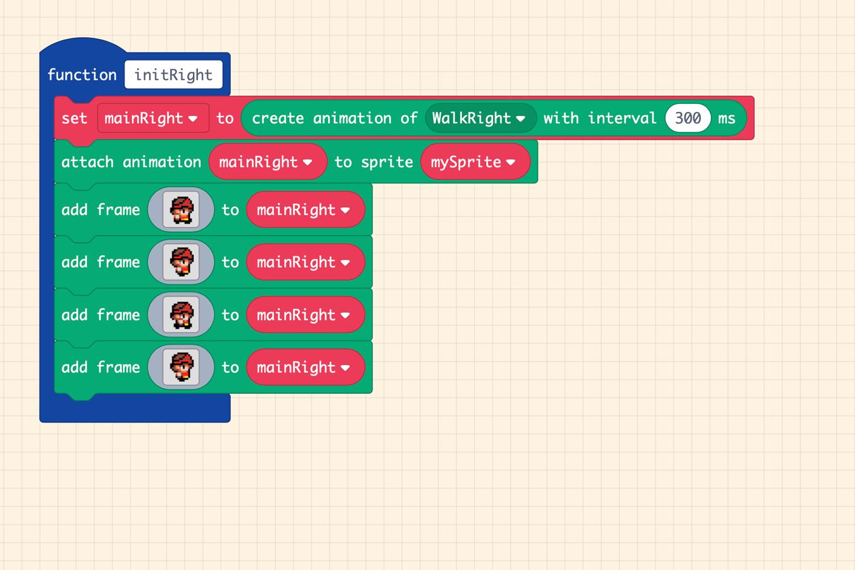 【MakeCode Arcade】キャラがテクテク歩くプログラム